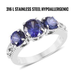 Jewelry - Simulated AAA Tanzanite Stainless Steel  Ring.